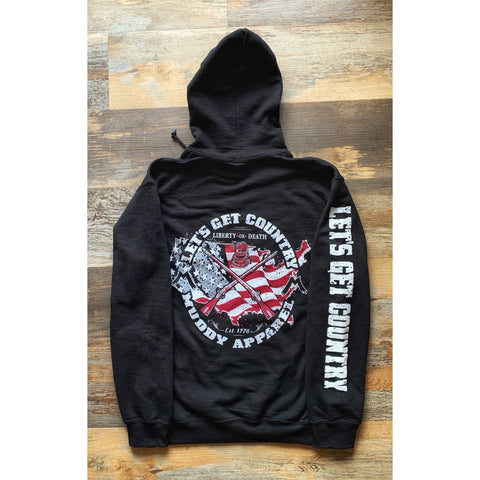 "LET'S GET COUNTRY - THE ""LIBERTY"" - BLACK W/ RED & WHITE PREMIUM HOODIE"