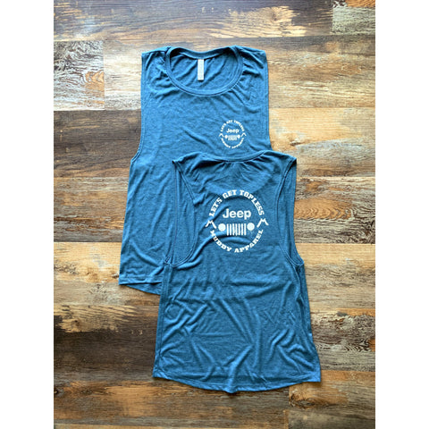 LET'S GET TOPLESS - ANTIQUE TEAL W/ WHITE PREMIUM TANK