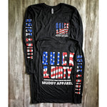 muddy-apparel-shop.myshopify.com QUICK & DIRTY - THE AMERICA - VINTAGE BLACK W/ US FLAG PREMIUM LONG SLEEVE