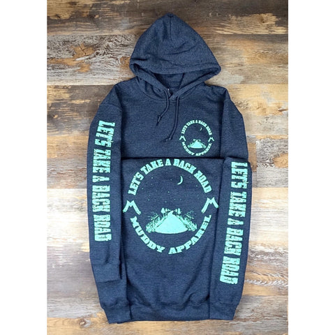 LET'S TAKE A BACK ROAD - DARK HEATHER W/ SEAFOAM GREEN PREMIUM HOODIE