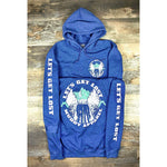 LET'S GET LOST - HEATHER NAVY W/ EVER GREEN AND WHITE PREMIUM HOODIE