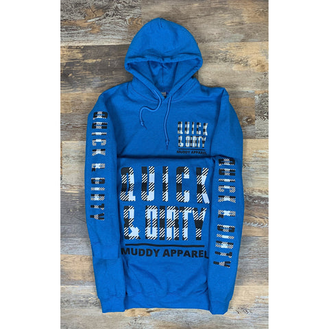 QUICK & DIRTY - ANTIQUE SAPPHIRE W/ BLACK & WHITE PLAID PREMIUM HOODIE