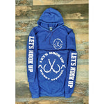 LET'S HOOK UP - HEATHER NAVY W/ WHITE PREMIUM HOODIE