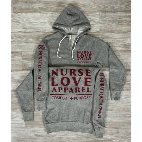 NURSE LOVE APPAREL - HEATHER GREY W/ MAROON LIGHTWEIGHT PREMIUM ZIP HOODIE