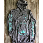 LET'S TAKE A BACK ROAD - HEATHER GREY W/ TURQUOISE PREMIUM HOODIE