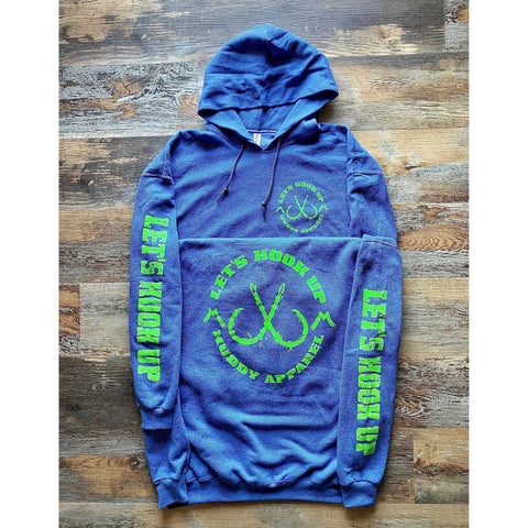 LET'S HOOK UP - HEATHER NAVY W/ BRIGHT GREEN PREMIUM HOODIE