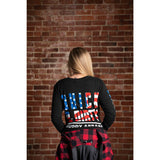 "QUICK & DIRTY - THE ""AMERICA"" - VINTAGE BLACK W/ U.S. FLAG PREMIUM LONG SLEEVE"