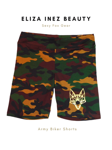Camo biker shorts, army biker shorts, brown army biker shorts