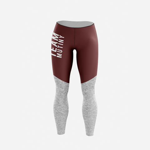 Maroon And Grey - Leggings - Mutiny GymWear