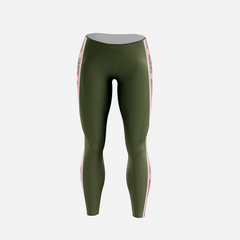 Olive with Pink Stripes - Leggings - Mutiny GymWear