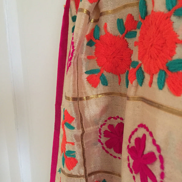 Phulkari dupatta. chanderi dupatta. Thread embroidered dupattas. Indian dupatta for women. Punjabi gifts fulkari dupatta