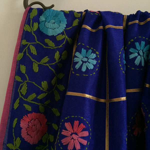 Indian dupatta Embroidered fabric scarf on chanderi silk. Boho gypsy hipster scarf from India for dress Punjabi wedding bridal gift.