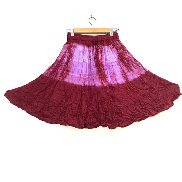 Mid length Purple Maroon Shining Skirt with elastic waist. Perfect bling party skirt for girls