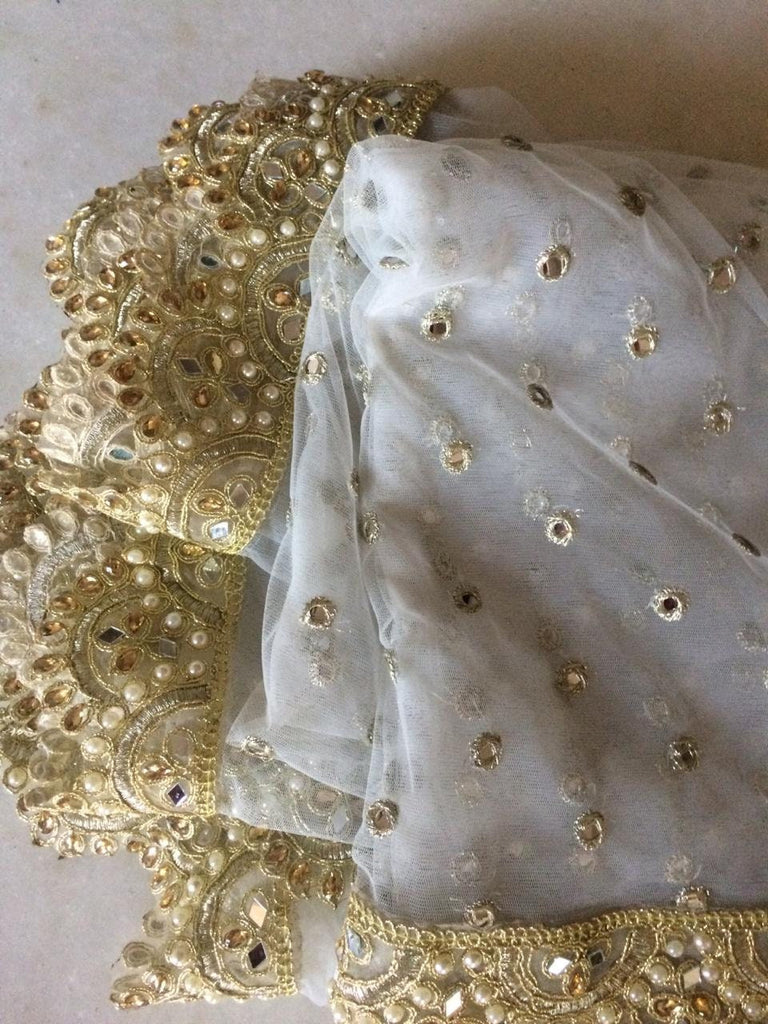 White Indian Wedding Dupatta long net embroidered scarf Punjabi dress dupattas with zari embroidery for festival chunni lehenga stole