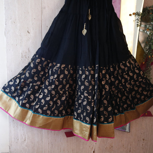Indian Skirt Lehenga party wear Street style maxi long skirt. Wedding wear women girls skirt Black cotton stylish bottom