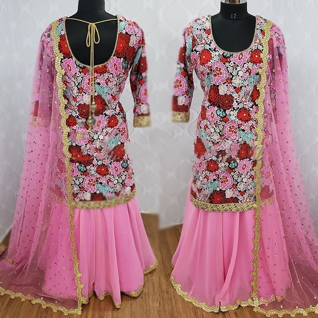 Indian designer dress for women party wear pink with embroidery