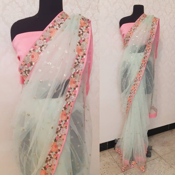 Custom order. Indian Sari bollywood style wedding Party wear with stitched blouse. Pastel  floral border Designer Sari. Indian saree blouse