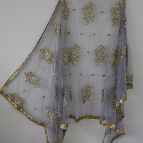 Grey Indian dupatta for women. Designer Dupatta. Wedding veil lehenga stole. Dupatta.