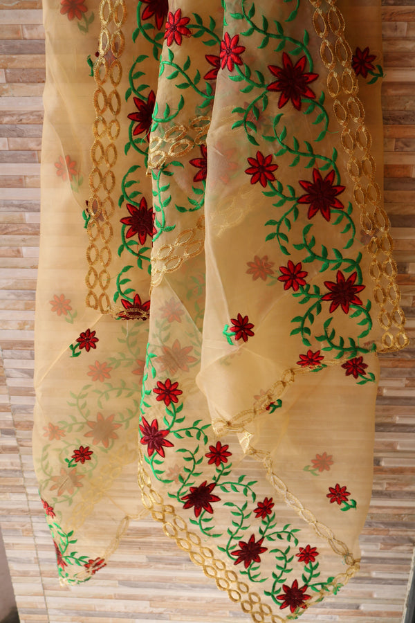 Organza Floral dupatta. Indian dupatta. Ethnic embroidered dupatta. party wear dupatta for punjabi suit salwar kameez