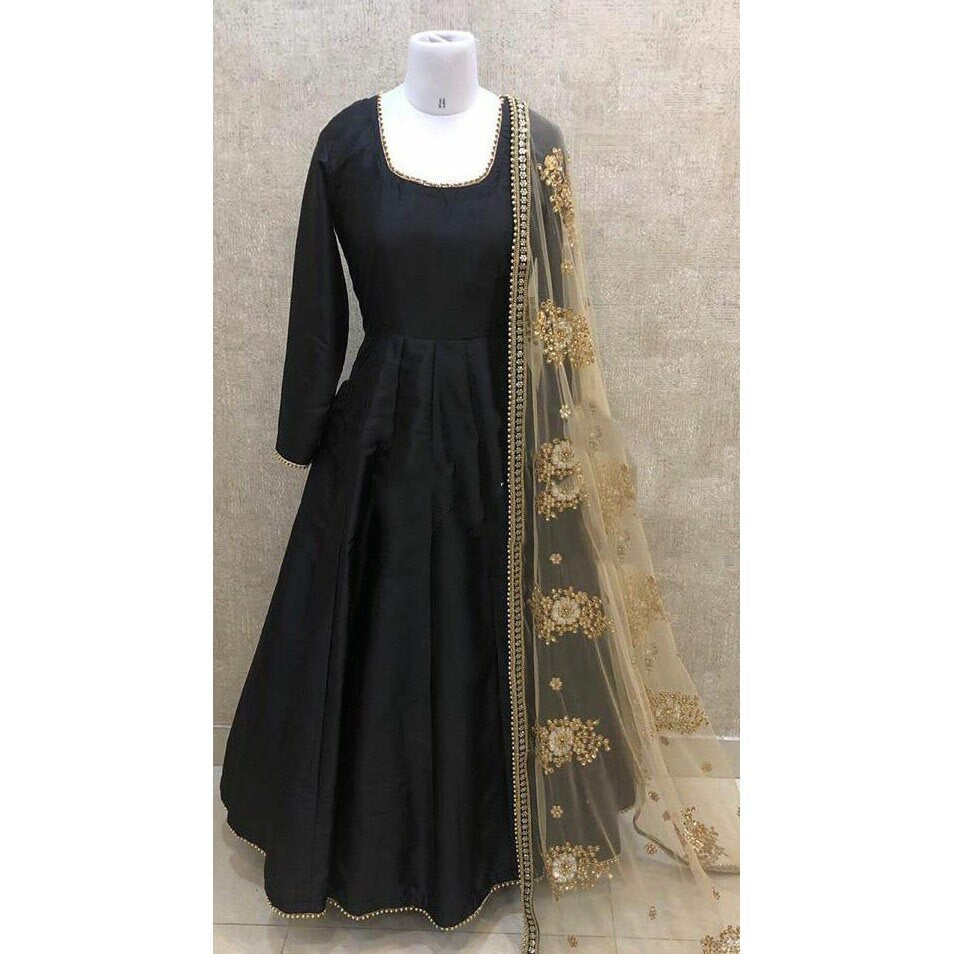 Indian Anarkali long kurta Salwar Kameez Suit Dupatta Black gold Ethnic party wear custom stitched made to measure dress for women girls