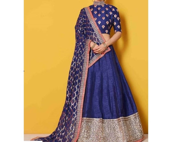 Blue Lehenga choli Dupatta Indian Designer Lengha Custom Stitched Made to order for women exclusive wedding party wear ethnic dress
