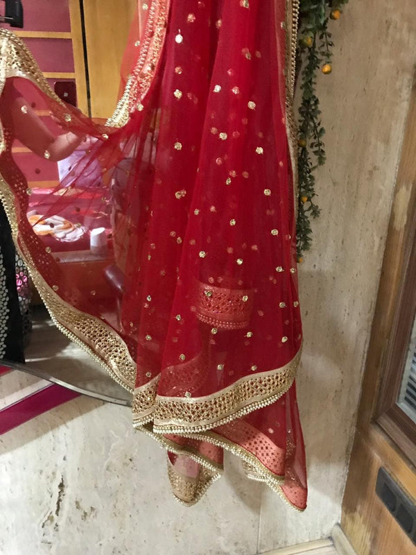 Bridal Red dupatta for Indian dress net beaded border dupatta