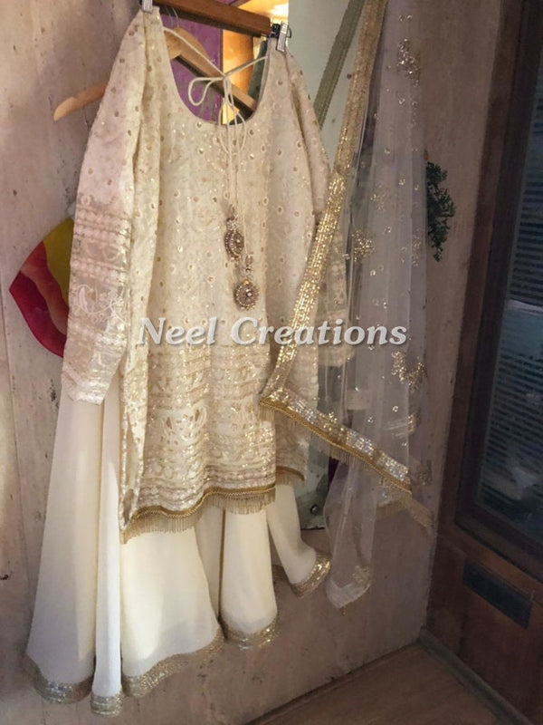 Net Indian dress Kurta with sharara. Designer off white Dress, Party wear clothe Made to order on measure for women girls