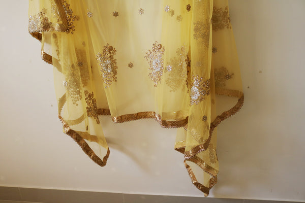 Yellow Bridal Indian Wedding Dupatta long net embroidered scarf Punjabi dress dupattas with zari embroidery festival chunni lehenga stole