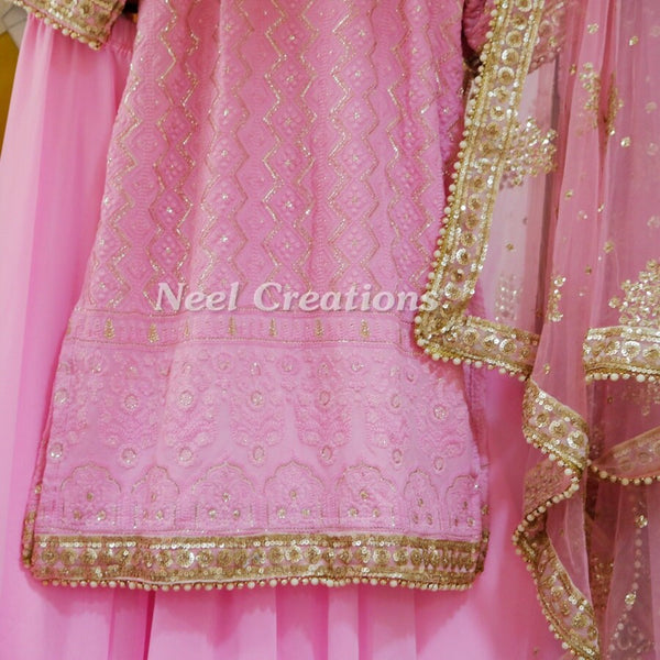Pink Indian dress Kurta with sharara. Designer georgette Dress, Party wear clothes Made to order on measure for women girls