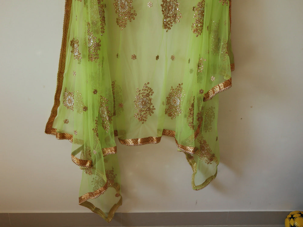 Parrot green dupatta with embroidery and beaded border trim. Net dupatta. Indian dupatta for women. Embroidered wedding dupatta