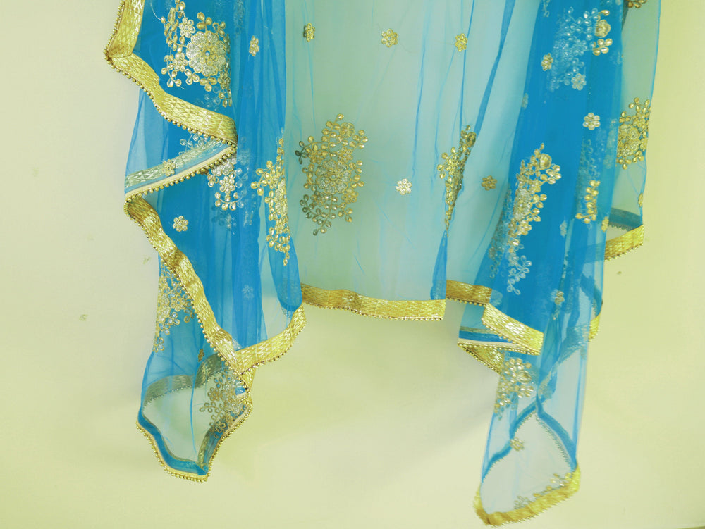 Blue Dupatta with kundan embroidery and beaded border. Indian Dupatta. Light blue dupatta. Net dupatta for women.