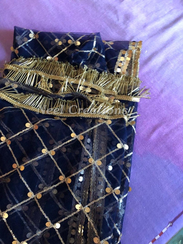 Navy blue Net Dupatta with Golden Sequins of Gold. Net Dupatta with border. Indian dupatta. Bridal chunni. Blue dupatta