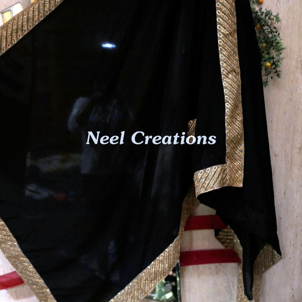 Black Indian Dupatta long georgette scarf Punjabi dress dupattas for festival chunni lehenga stole