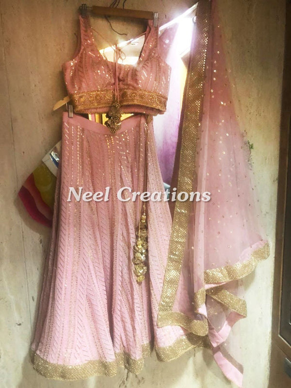 Blush pink Georgette lehenga. Indian designer sequin embroidered blouse and lenga with net dupatta.