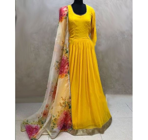 Yellow long gown dress. Long punjabi dress salwar suit for women girls. Party wear designer floral outfits