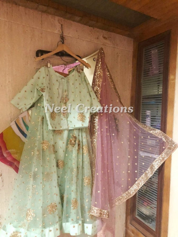 Mint green Lehenga choli dupatta | Indian lehenga for bridesmaid wedding party designer wear