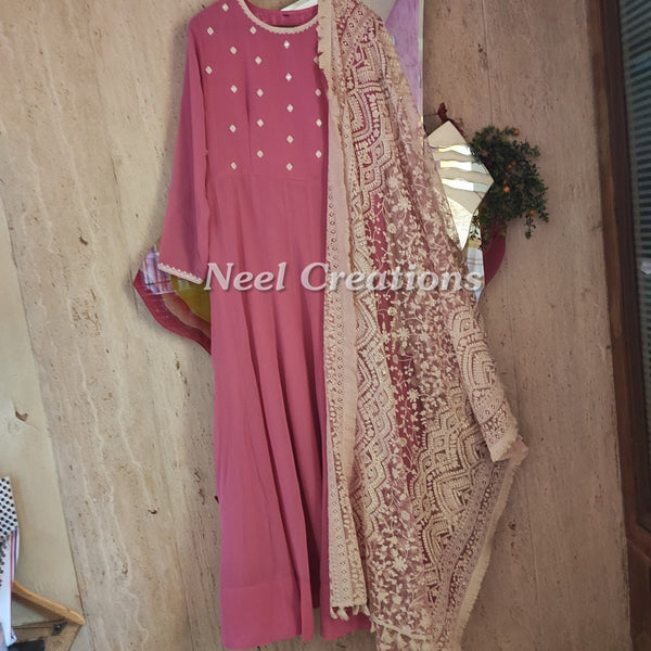Pink Long Anarkali dress. Designer Indian Pakistani outfit. Wedding party wear floor length dress gown style.