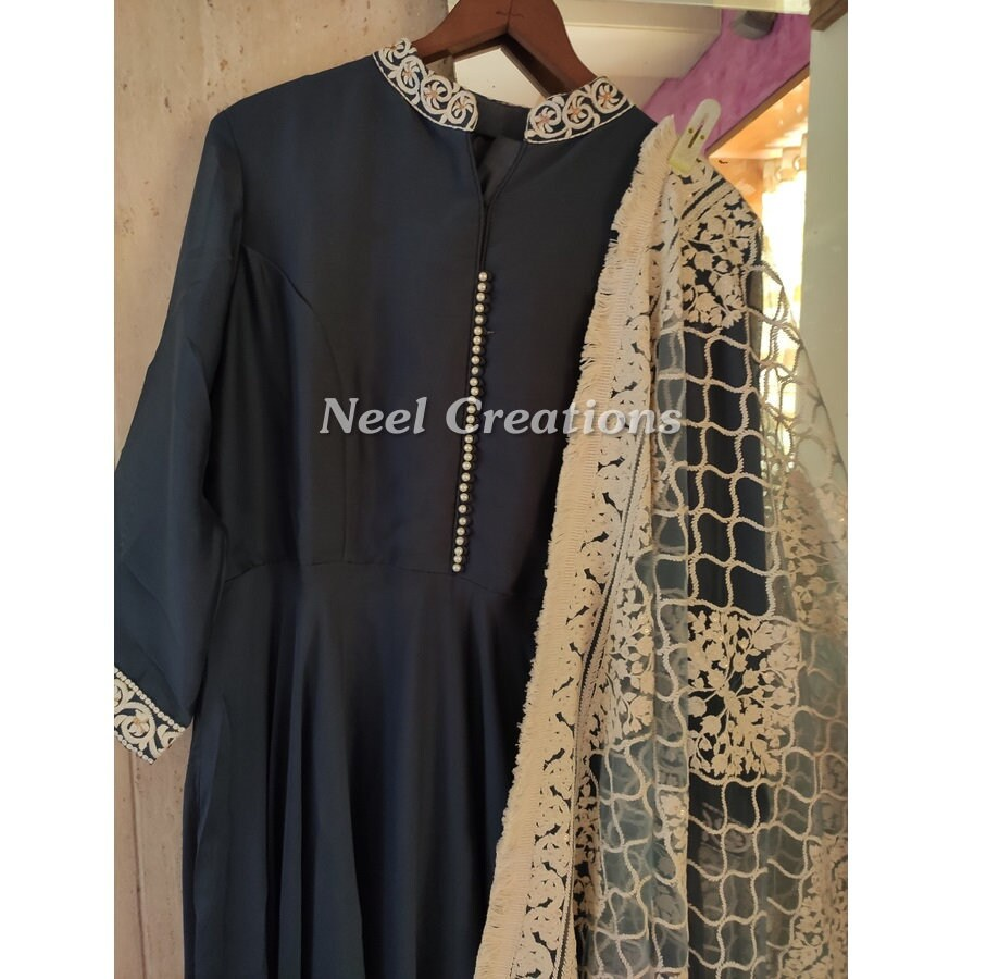 Long Anarkali dress. Designer Indian Pakistani outfit. Wedding party wear floor length dress gown style.