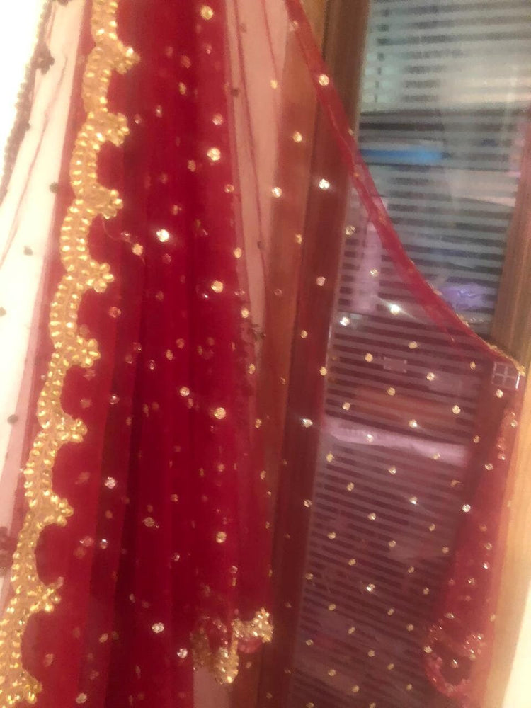 Red Golden Indian Dupatta long net embroidered scarf Punjabi dress dupattas with zari embroidery for festival chunni lehenga stole