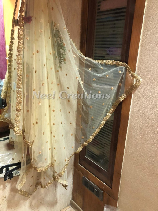Sequin embroidered Net dupatta. Indian dupatta with gold floral border. Custom made dupattas. Bridal veil.