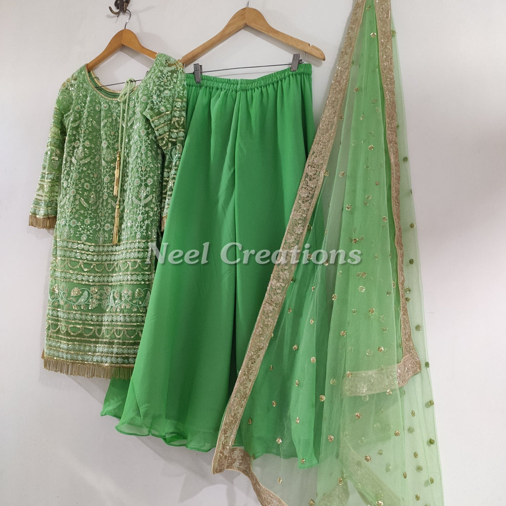 Green Indian dress with sharara palazzo pants. Salwar kameez dupatta with sequin embroidery for women girls