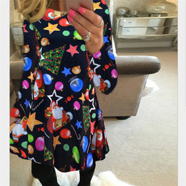 Winter Women Casual Print Cartoon Christmas Tree Mini Loose Dress