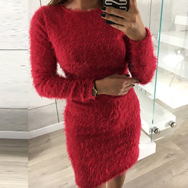 Warm Knitted Sweater Dress Long Sleeve Female Winter