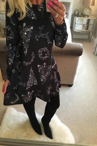 Winter Casual New Year Christmas Mini Dress Long Sleeve Floral