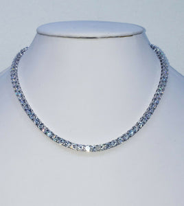 18K White Gold Plated 5mm Round Cubic Zirconia Classic Tennis Necklace