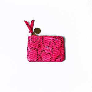 Neon Faux Snakeskin Coin Purse