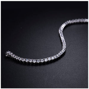 "18K White Gold Plated Classic Tennis Bracelet 7.75"" inch"