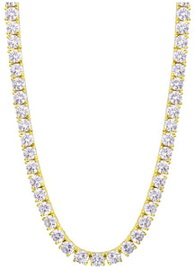 18K Yellow Gold Plated 4mm Round Cubic Zirconia Classic Tennis Necklace