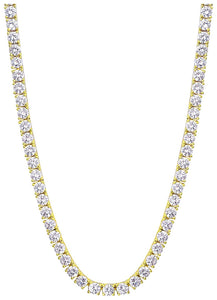 18K Yellow Gold Plated 3mm Round Cubic Zirconia Classic Tennis Necklace