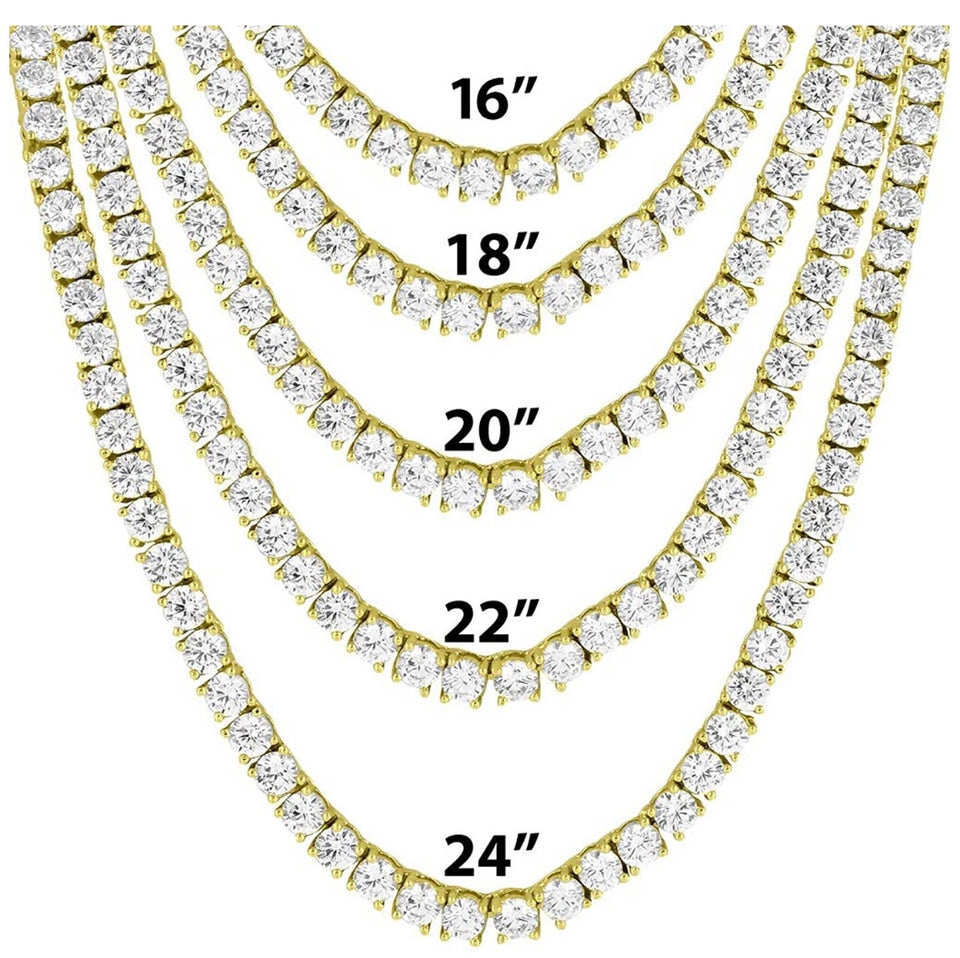 18K Yellow Gold Plated 5mm Round Cubic Zirconia Classic Tennis Necklace